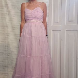 Vintage 80s Lilac Purple Tulle Formal Prom Dress